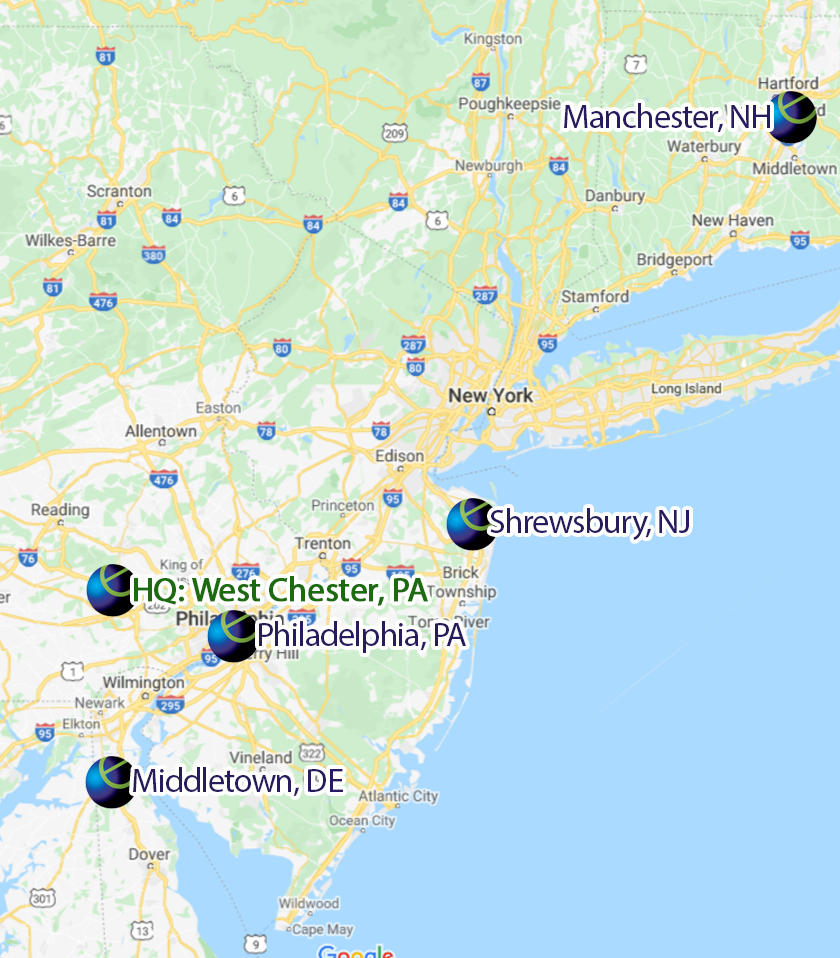 Five Convenient Locations: West Chester, Philadelphia, Wilmington, Shrewsbury, Manchester